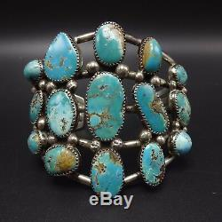 Vintage Navajo Sterling Silver & Fox Turquoise Cluster Manchette 73g