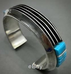 Vintage Navajo Sterling Silver Turquoise Manche Cobblestone Inlay Bracelet