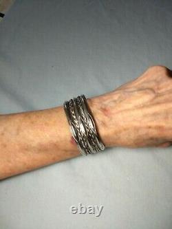 Vintage Navajo Sterling Silver Wide Twisted Wire Bracelet De Cuff Estampé