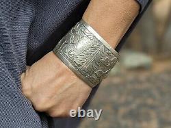 Vintage Navajo Story Teller Cuff Bracelet Sterling Becenti Signé Bijoux
