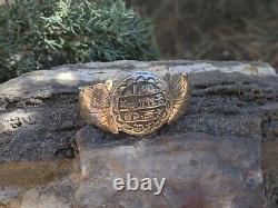 Vintage Navajo Story Teller Round Bracelet Sterling Silver Signé Bijoux Indigènes