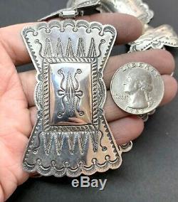Vintage Navajo Sud-ouest Amérindien En Argent Sterling Entiers Concho Ceinture