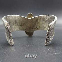 Vintage Navajo Tufa Cast Sterling Silver & Turquoise Cuff Bracelet