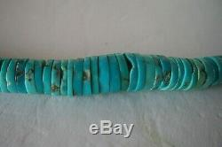 Vintage Navajo Turquoise Heishi Perle Collier En Argent Sterling