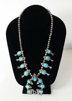 Vintage Navajo Turquoise Squash Blossom Sterling Silver Collier 19