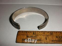 Vintage Navajo Vieux Pion Turquoise Bracelet En Argent Sterling Petit Point