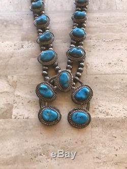 Vintage Old Navajo Signé Squash Blossom Turquoise Collier En Argent Sterling