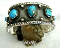 Vintage Old Pawn Blue Kingman Turquoise Navajo Sterling Silver 925 Bracelet Manchette