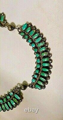 Vintage Old Pawn Zuni Petit Point Collier Sterling Argent Turquoise 3 Parties
