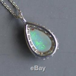 Vintage Opal & Diamant 1.60ct Or Blanc 14 Ct Plus De 18 Pendentif Et Collier Chaîne