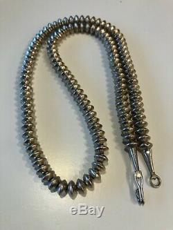 Vintage Perles Amérindien En Argent Sterling Navajo Banc Collier De Perle