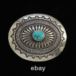 Vintage Pete Morgan Navajo Sterling Argent Turquoise Concho Western Ceinture Boucle