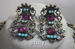 Vintage Rivera Mexicain Matl Style En Argent Sterling Massif Collier Boucles D'oreilles