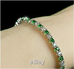 Vintage $ Round Emerald Cinq Mille 9ct Et Diamants En Or Blanc 18 Carats Plus 7tennis Bracelet
