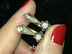 Vintage Russian Hoop Earrings 0.5ct Cut Round Diamond 14k Rose Gold Finish