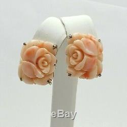 Vintage Sea Or En Argent Sterling 14k Sculpté Rose Corail Roses Omega Retour Boucles D'oreilles