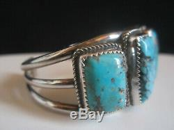 Vintage Signé Pawn Navajo Indien Boutons De Manchette En Argent Sterling Turquoise Bracelet Ligne