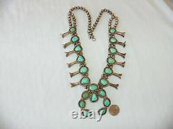 Vintage Sterling Silver & Turquoise Squash Blossom Collier 234 Grammes