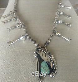 Vintage Sterling + Turquoise Squash Blossom Collier Signé Michael Cheval