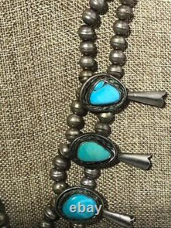 Vintage Streling Silver Large Squash Blossom Collier Turquoise 14946/ecc/osf