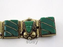 Vintage Taxco Mexique Argent Sterling Sculpté Vert Onyx Bracelet De Panneau 925 Faces