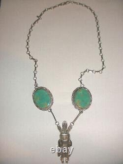 Vintage Thomas Red Bird Mesa Argent Sterling Navajos Turquoise Kachina Collier