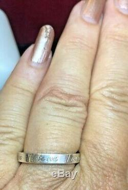 Vintage Tiffany & Co. Ring Designer Argent Sterling Signe Je T'aime Band