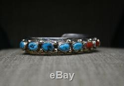 Vintage Turquoise Amérindien Navajo Corail Sterling Bracelet De Grande Taille