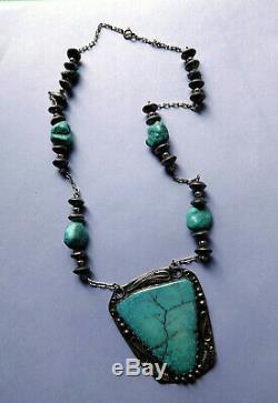 Vintage Turquoise Slab Gros Pendentif En Argent Sterling Collier Fait Main Bateau Libre