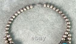 Vintage Turquoise Squash Blossom Collier 16 Sterling Banc Fait Perles Navajo