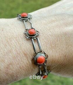 Vintage Véritable Corail Rouge Sterling Argent 925 Bracelet 12 MM 8,5 Gr