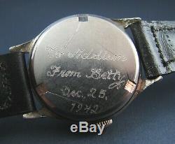 Vintage Ww2 Helbros Era Style Militaire En Argent Sterling 1942 Mens Watch 7j