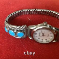 Vintage Zuni En Argent Sterling Bracelet De Montre Conseils Turquoise Et R Signé