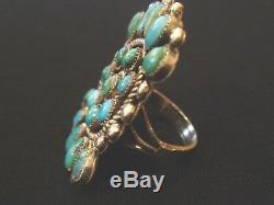 Vintage Zuni Grand Groupe Anneau Dix-huit Pierres Turquoise Sterling Sz 6,75