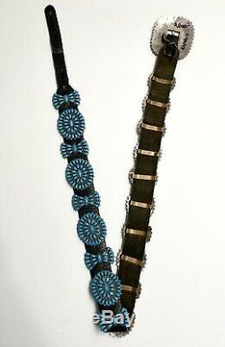 Vintage Zuni Sleeping Beauty Sterling Silver Turquoise Cluster Concho Ceinture Mint