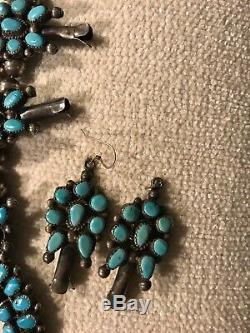 Vintage Zuni Turquoise Et Argent Sterling Squash Collier Fleur