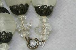 Vtg Antique 1920 Français Lalique Givré Satin Rose Silver Collier