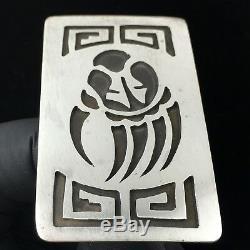 Vtg Argent Sterling Hopi Bear Paw Claw Tribal Boucle De Ceinture Amérindien