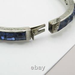 Vtg Art Déco Sterling Silver Channel Ensemble Blue Glass Paste Buckle Bangle Bracelet