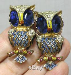 Vtg Bijoux Coro Duette Owls Broche En Argent Sterling Clip Fourrure Émaillée Strass