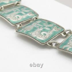 Vtg David Andersen Norvège Aqua Green Enamel Fairytale Sterling Silver Bracelet
