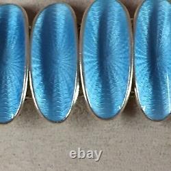 Vtg David Andersen Norway Sterling Silver Guilloche Enaamel Bracelet 7