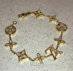 Vtg Domaine Louis Vuitton D'or Chaîne En Argent Sterling Monogram Bracelet Fleur