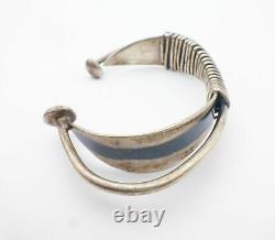 Vtg Ed Weiner Sterling Silver Modernist Tapered Wire Wrap Cuff Bracelet 6 31.4g