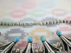 Vtg Fleur De Choker Bobby Apachito Corail Turquoise De L'argent Sterling Collie