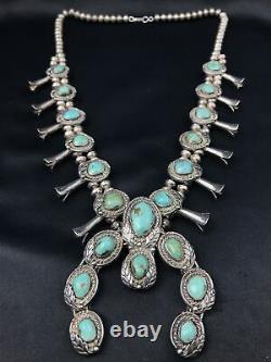 Vtg Huge 248g Navajo Squash Blossom Turquoise Sterling Silver Collier
