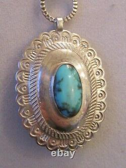 Vtg Lrg Stamped Argent Sterling Turquoise Concho Ceinture Collier Sud-ouest 110g