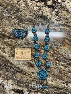 Vtg. Main Navajo Turquoise & Sterling Silver Squash Fleur Collier Avec Cuff