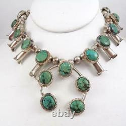 Vtg Native American Sterling Silver Squash Blossom Turquoise Collier Lfl5