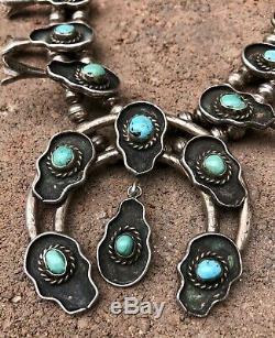 Vtg Navajo En Argent Sterling Kingman Turquoise Shadow Box Squash Blossom Collier